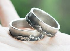 wedding band set, silver ring set, wedding ring set, His and Hers, mountains pattern rings Eco Friendly unique Handmade jewelry Three Snails