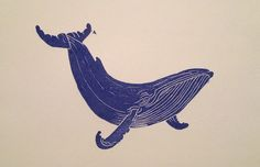 Blue Whale Art Print by Paper Cut Illustrations