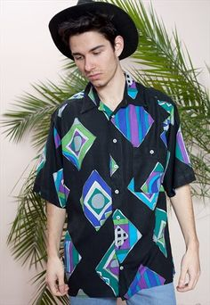 Mens+vintage+short+sleeve,+abstract+print,+button+up+shirt