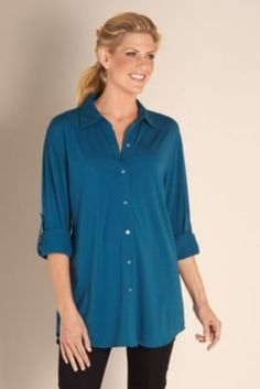 Soft Sunday Shirt - Womens Big Shirt, Soft Knit Shirt, Ladies Weekend Shirt | Soft Surroundings