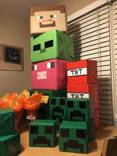 Minecraft Party Games, Minecraft Party Decorations, Minecraft Birthday Cake, Minecraft Crafts, Minecraft Houses, Minecraft Bedroom, Creeper Minecraft, Birthday Party Snacks, 6th Birthday Parties