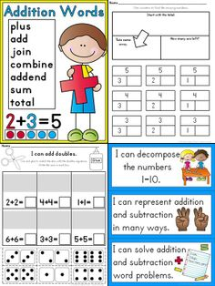 Lots of Common Core Aligned Addition and Subtraction Printables for Kindergarten! $