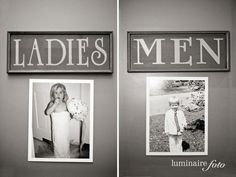 Put old pics of bride and groom on the bathroom door at the wedding | Community Post: 25 Totally Ingenious Tips And Tricks To Make Your Wedding Planning Easier