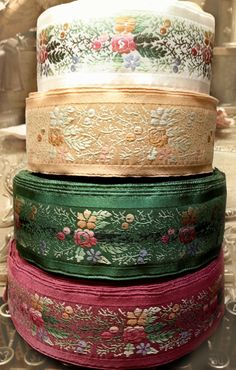 Vintage Embroidered Silk Jacquard Trim ~ made in France