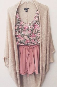 I don't like this together. I like the knit cover up, but would put it with a with tank top, jeans and some boots.