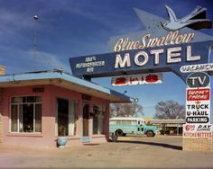 http://www.printedart.com/content/route-66-blue-swallow-motel-tucumcari-new-mexico  Quinta Scott: Blue Swallow Motel  Available with acrylic finish for a float-on-the-wall display in sizes up to 80 x 64 inches.