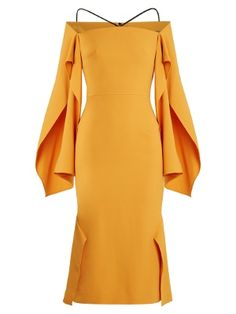 Andover off-the-shoulder crepe midi dress  | Roland Mouret | MATCHESFASHION.COM UK