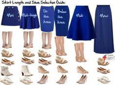Skirt length and shoe selection guide. Super helpful guide in helping you find the right type of shoes.