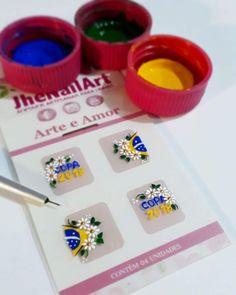 Unhas copa Nails Inspiration, Manicure, Nail Art, Tattoos, Nail Jewels, Art Nails, White Nail Beds, Fingernail Designs, Manualidades