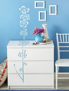 Dainty Designs..Bring an ordinary dresser to life with an oversize floral stencil. I love this idea! TT