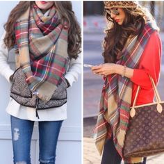 Chunky cowel Knit Scarf  Blanket Scarf or Infinity Best selling tartan plaid blanket scarf nwot 59x59 100% acrylic nwot Vivacouture Accessories Scarves & Wraps