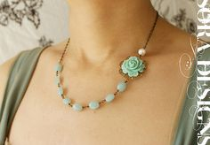 Aqua Mint Rose wedding necklace Bridal necklace by soradesigns