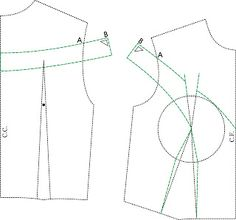 Off shoulder sleeve princess bodice pattern drafting. - Off shoulder sleeve princess bodice pattern drafting. MIB – Modelagem Industrial… – Off shou - Sewing Basics, Sewing Hacks, Sewing Tutorials, Dress Sewing Patterns, Blouse Patterns, Pattern Cutting, Pattern Making, Pattern Drafting, Sewing Collars