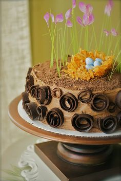 Whimsical Chocolate Easter Cake with tiny Bird's Nest