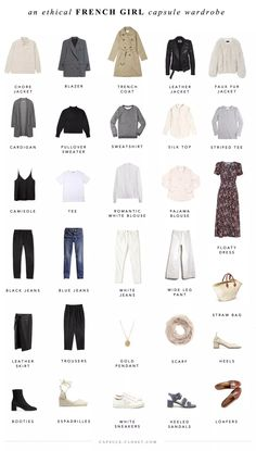 An ethical French style capsule wardrobe – Capsule Closet I've been more fascinated by French style than ever lately. It's inherently a thoughtful, sustainable approach to dressing, because it incorporates a lot of classic, neutral pieces tha… Capsule Outfits, Fashion Capsule, Mode Outfits, Tomboy Outfits, Travel Outfits, Stylish Outfits, Fashion Mode, Look Fashion, Fashion Basics