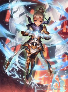 """xhemcil: """" Female Kanna in Fire Emblem Cipher. I love the sweet art for her lv 1 card, her Higher level cards look pretty badass instead. """""""