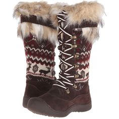MUK LUKS Gwen Tall Snow Boot Women's Cold Weather Boots, Brown ($100) ❤ liked on Polyvore featuring shoes, boots, brown, knee-high boots, tall lace up boots, knee high laced boots, tall brown boots, knee high snow boots and fuzzy boots