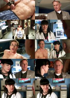 """ncis-addiction:  Abby: """"Hey Gibbs! You feel better, Jimmy, or should I do it again?""""Gibbs: """"Do what again?""""Palmer: """"Sorry,  Agent Gibbs… I pulled my oblique while extracting Petty Officer  McCaffrey down the ladder off the Gentry, and… Abby's been Rolfing  me.""""Gibbs: """"… Rolfing you?""""Palmer: """"Yeah! … Uh… yeah… I'm gonna go down to Autopsy.""""Gibbs: """"Rolfing, Abbs?""""[…]Gibbs: """"Nice work. Who knew Palmer had abs like that?""""NCIS 9x14 """"Life Before His Eyes"""""""