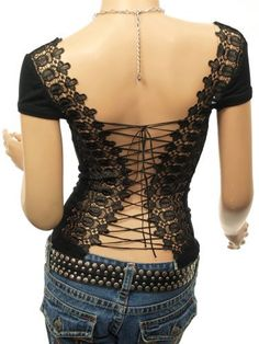 Patty Women Unique Corset Embroidered Back Cap Sleeve Boho Clubwear Blouse Top Patty,  www.amazon.com/...