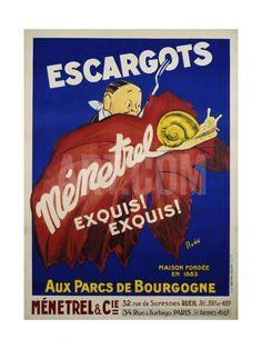 Escargots Menetrel Poster Giclee Print at Art.com