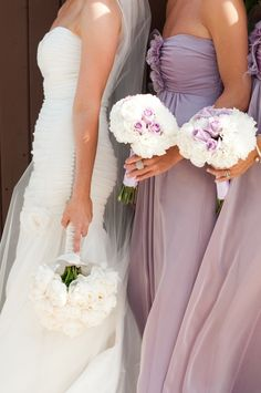 Zack and Sarah  Sarah's bridesmaids wore Jim Hjelm Occasions bridesmaids dresses style 5080 in Lavender Luminescent Chiffon.