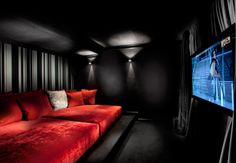 home cinema design Home cinema design which is very similar to an ordinary public cinema.Home cinema design which is very similar to an ordinary public cinema. Home Cinema Room, Home Theater Rooms, Home Theater Design, Cinema Room Small, Salas Home Theater, At Home Movie Theater, Dream Theater, Home Theaters, Home Entertainment