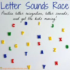 Letter Sounds Race - Practice letter recognition and letter sounds with a fun game that gets kids moving. From letter recognition to sounds E Learning, Preschool Learning, Teaching Reading, Learning Spanish, Simply Learning, Letter Sound Activities, Alphabet Activities, Literacy Activities, Letter Sound Games