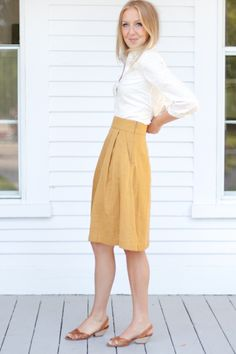 yellow a-line skirt with pockets / emerson made / white blouse / leather sandals / summer