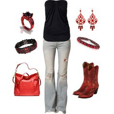 A fashion look from December 2012 featuring Rut m. tops, Free People jeans and Corral boots. Browse and shop related looks. Red Cowgirl Boots, Short Cowboy Boots, Cowboy Boot Outfits, Black Cowgirl, Ankle Cowboy Boots, Red Boots, Cowgirl Style, Cowgirl Fashion, Black Shirt With Jeans
