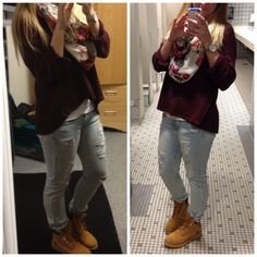 69 Ideas Timberland Boats Outfit Winter Casual Fall For 2019 Timberland Boots Style, Timberland Outfits, Winter Boots Outfits, Casual Winter Outfits, Outfit Winter, Girly Outfits, Cute Outfits, Winter Leggings, Boating Outfit