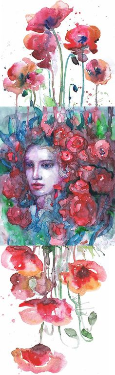 Enchanted Art Portrait Painting Fairy Watercolor Girl Print Poppies Decor Wall art Blue Illustration,Painting, Nymph art  Original (NOT PRINT) 29,7cm × 42cm, 11 5/8 × 16 1/2, A3(with white borders) - 99.00 $  Print of my original watercolor painting. Size paper: 21 cm x 29,7 cm, 8 1/4 x 11 5/8, A4.(with white borders) - 18.00 $  fit in frames found in big shops 8x10(20cmx25cm) - leaving extra for matting - US  8x12(20cmx30cm) - leaving extra for matting - EU   29,7cm × 42c...