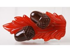 Red Carved Art Deco Bakelite Acorn Clip