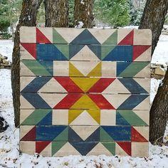 Start Out Your Very Own Sewing Company The Big Brights Make A Snowy Morning So Much Better. This Lancaster Fields Is Headed Off To A New Home In Alaska. We Love Shipping These Babies Off Wondering Where They Will Hang. Barn Quilt Designs, Barn Quilt Patterns, Quilting Designs, Block Patterns, Big Block Quilts, Star Quilts, Quilt Blocks, Painted Barn Quilts, Barn Signs
