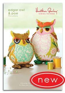 Edgar Owl & Poe Pincushions from Heather Bailey