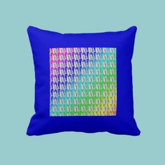 Colorful Pattern on Blue American MoJo Pillow