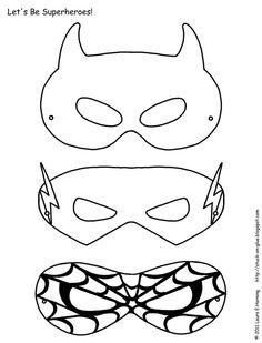 Superhero activities: FREE superhero masks to color.