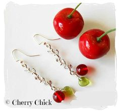 Cherry Earrings, Cherry Vine Earrings, Cherry Glass by Cherry Chick