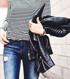 long sleeve striped tee, leather moto jacket & ripped jeans