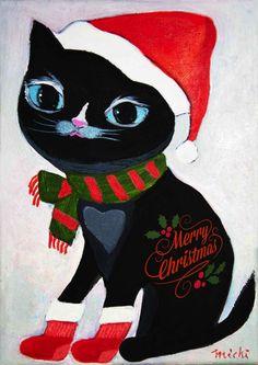 赤い帽子とソックスの黒猫 中尾道也 ねこみちNekomichi | Michiya Nakao Cat Paintings, Space Cat, My Works, Cats, Fictional Characters, Color, Gatos, Kitty Cats, Cat Breeds