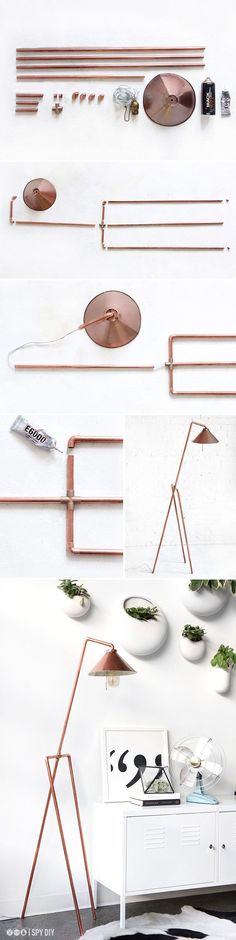 DIY Copper Pipe Floor Lamp /  DIY Copper Lamp to add a little modern beauty to your home!