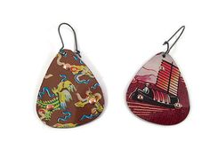Chinese Earrings Recycled Tin Reversible by TinMoonJewelryworks