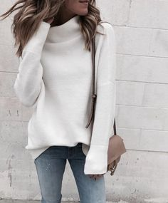 Womens fashion over 30 casual sweaters 24 ideas for 2019 Fashion Over, Look Fashion, Womens Fashion, Fashion Trends, Cheap Fashion, White Fashion, Fashion Fall, Latest Winter Fashion, Swag Fashion