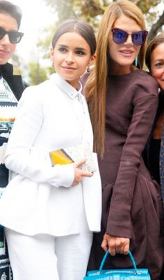 full on white and brown- stylish friends at Paris Fashion Week/ Miroslava and Anna