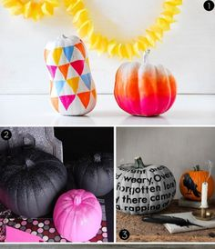 25 awesome, modern, and totally clever pumpkin decorating projects that won't leave you with a sticky pile of pumpkin guts to clean up in th...