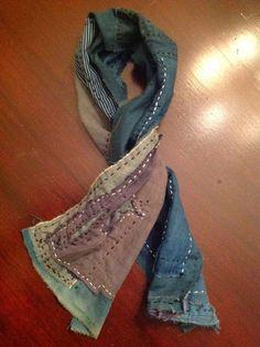 "Handmade Japanese Indigo Boro Scarf - (9"" x 42"") Made From Antique Material…"