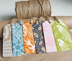 Linocut gift-tags (x6 assorted), hand-printed