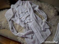 Ubrania biała bluzka koszula z żabotem