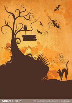 Spooky Tree Halloween Backdrop