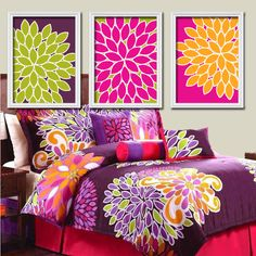 Would be cute for her after toddler stage-Bright Bold Colorful Flowers Floral Green Purple Orange Pink Artwork Set of 3 Trio Prints Bedroom Wall Decor Art Picture Bedding Match