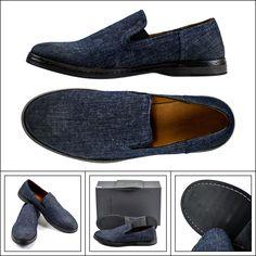 John Varvatos Mykonos Venetian Denim Slip-On Shoes Loafers  |  Have at it! http://www.frieschskys.com/footwear  |  #frieschskys #mensfashion #fashion #mensstyle #style #moda #menswear #dapper #stylish #MadeInItaly #Italy #couture #highfashion #designer #shop
